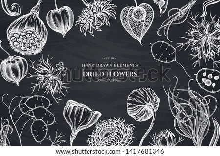 Floral design with chalk black caraway, feather grass, helichrysum, lotus, lunaria, physalis #1417681346