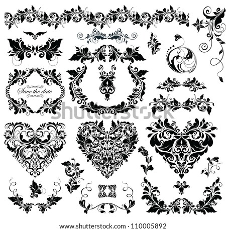 Floral Design With Heart Shapes Black And White