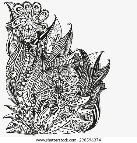 floral doodle black and white