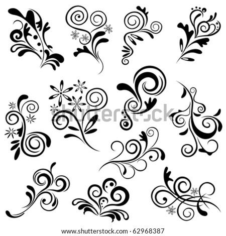 Floral element set. Illustration vector.