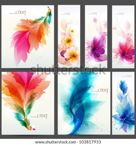floral  elements background. Set of floral cards for design