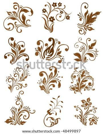 Floral elements design. Vector ornament #48499897