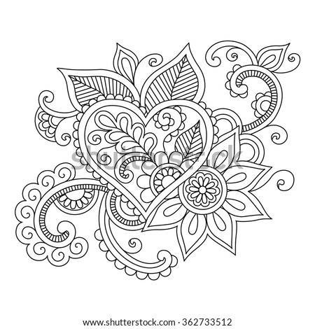 coloring pages of heart designs | Floral Ethnic Doodle With Heart Pattern. Indian Henna ...