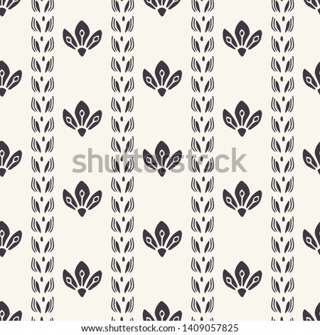 Floral ethnic leaf motif scandi style. Vector seamless pattern. Simple folk art nature textiles swatch. Classic modern home decor. Traditional isolated motif. Trendy art deco ethnic all over print.