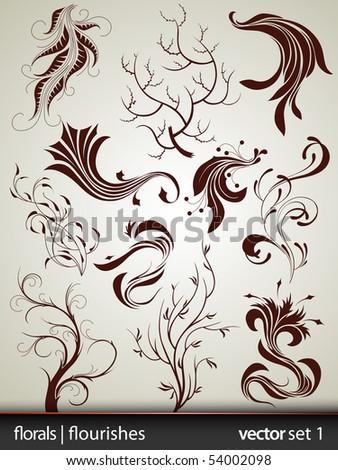 Floral | Flourish Elements - Vector Set 1