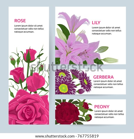 Floral flower card invitation vector set greeting postcard with flowering bouquet of rose lily gerbera peony vintage illustration invite isolated on white background.