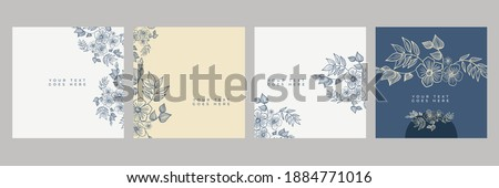 Floral flowers border seamless pattern in sketch style on white background - hand drawn exotic blooms of monstera, protea, magnolia and plumeria with colorful line contour. Vector illustration Photo stock ©