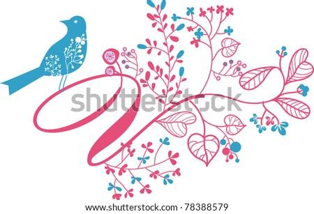 floral font design- letter V