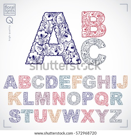 Floral font, hand-drawn vector capital alphabet letters decorated with botanical pattern. Ornamental typescript, vintage design lettering.