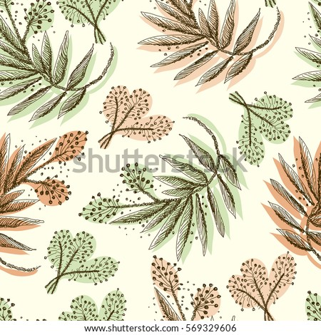 floral forest seamless pattern