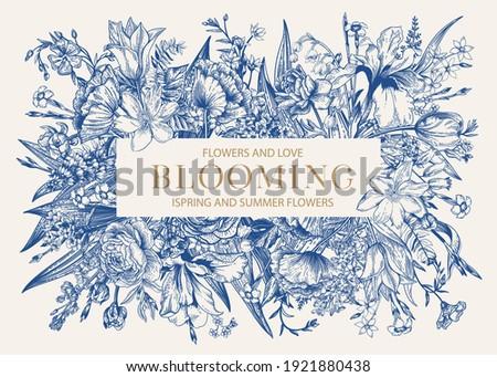 floral frame blooming iris