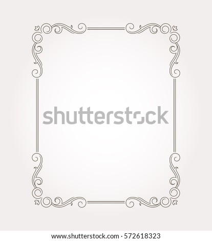 Floral frame border. Decorative design element and fancy page ornament. Vector illustration