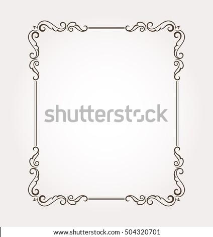 Floral frame border. Fancy page decoration. Vector illustration #504320701