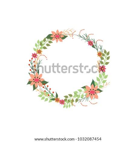Floral frame card. Design for invitation, wedding, birthday or ...