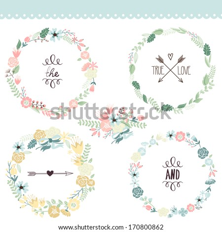 Floral Frame Collection Set of cute retro flowers arranged un a shape of the wreath perfect for wedding invitations and birthday cards