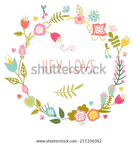 Floral frame Cute retro flowers arranged a shape of the wreath Perfect for wedding invitations