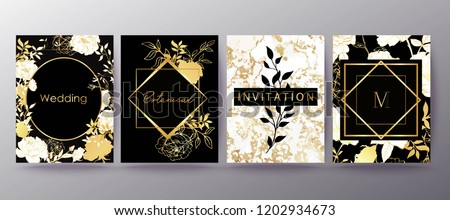 Floral frame design. Wedding invitation arrangement. Botanical composition. Hand drawn flowers. Composition for card, invitation, save the date. White and gold marble. - Shutterstock ID 1202934673