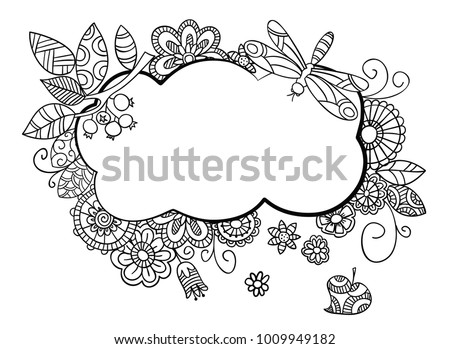 Floral frame in doodle style with place for your text. Hand drawn sketch.