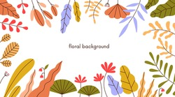 Floral frame of autumn leaf, herbs and flowers on white background. Horizontal banner with abstract fall leaves. Autumnal border of foliage plants. Modern botanical flat vector illustration