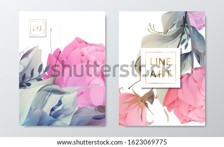 Floral frame set, line flowers, leaves, minimal vector, luxury background. Sketched wreath, floral, herbs garland. Vector simple line style.