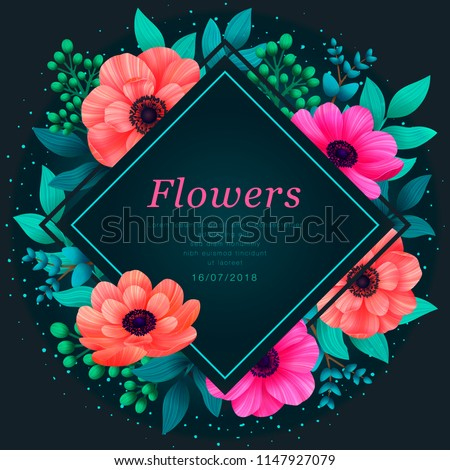 Floral frame. Tropical flowers trendy template. Design with beautiful neon flowers and palm leaves with copy space on dark background. Vector digital illustration.