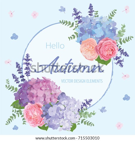 Floral frame with autumn hydrangea flowers, rose, lavender, and leaf on blue in the background. Vector set of blooming flower for your design. Adornment for wedding invitations and greeting card. #715503010