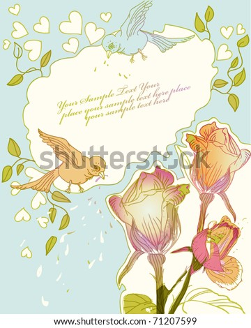 floral frame with blooming roses and colorful birds