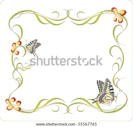 floral frame with butterflies. eps 10