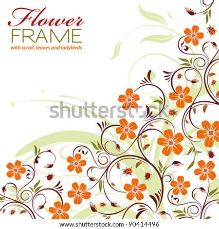 Floral Frame with Ladybird, element for design, vector illustration