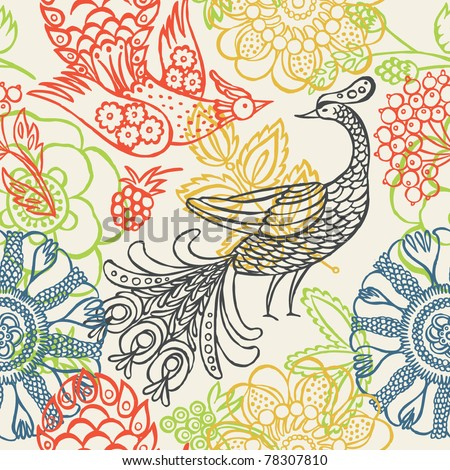floral garden with birds. seamless pattern