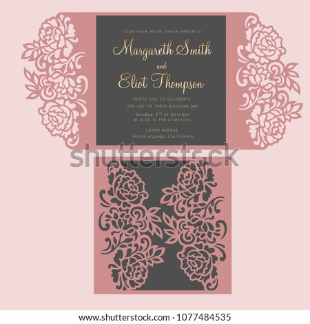 Floral gate fold car template. Laser cut invitation design with peonies.