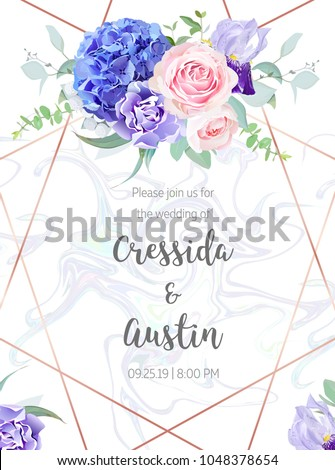 Stock Photo Floral geometric vector design frame.Pink rose, blue hydrangea, purple carnation,iris,eucalyptus, greenery. Spring wedding card. Art deco style.Gold line art with holographic marbled texture.Editable.
