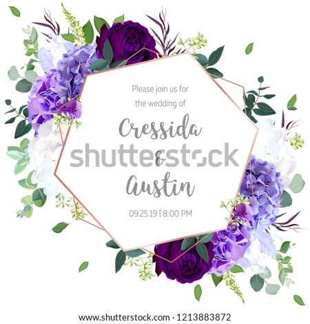 Floral geometric vector design frame.Violet and white hydrangea, purple rose, iris, seeded eucalyptus,agonis, greenery.Wedding card.Art deco style.Gold line art .All elements are isolated and editable