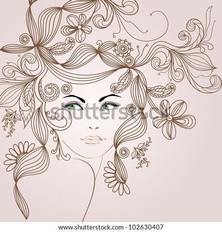 floral girl - stock vector
