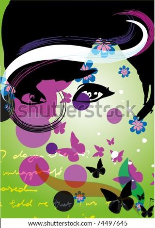 Floral Girl - stock vector