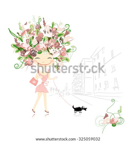 floral girl with dog on street