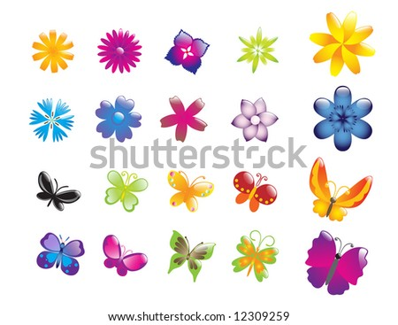 floral glossy icons   butterfly