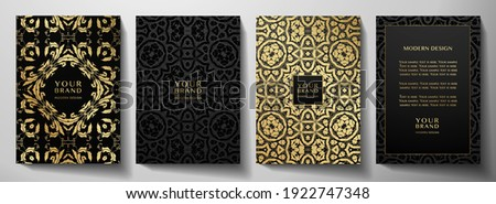 Floral gold curve pattern cover design set. Luxury abstract golden ornament on black background. Premium vector collection for brochure, invite, notebook, menu template Stockfoto ©