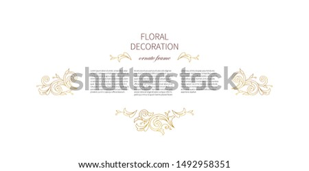 Floral gold decoration and vignettes. Arabic and Eastern motifs. Ornamental illustration, flower garland. Isolated line art ornaments. Golden ornament with leaves, curls for invitations, cards.