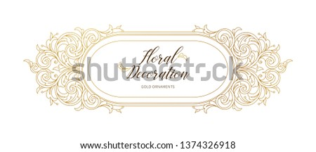 Floral gold decoration, frame, ornamental border. Arabic and Eastern motifs. Ornate illustration, flower garland. Isolated line art ornaments. Golden ornament with leaves, curls for invitations,