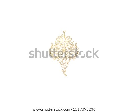 Floral gold decoration, frame, vignette. Arabic and Eastern motifs. Arab ornamental illustration, flower garland. Isolated line art ornaments. Golden ornament with leaves, curls for invitations, cards