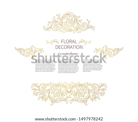Floral gold decoration, frame, vignettes. Arabic and Eastern motifs. Arab ornamental illustration, flower garland. Isolated line art ornaments.Golden ornament with leaves, curls for invitations, card