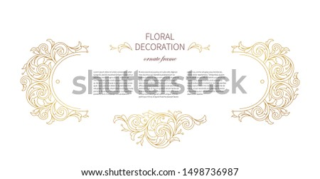 Floral gold decoration, frame, vignettes. Arabic and Eastern motifs. Arab ornamental illustration, flower garland. Isolated line art ornaments. Golden ornament with leaves, curls for invitation, card.