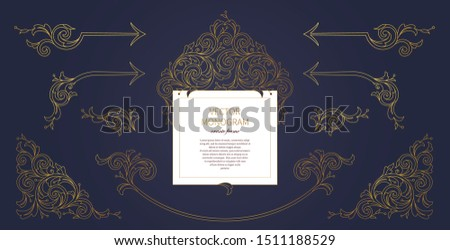 Floral gold decoration, frame, vignettes. Arabic and Eastern motifs. Arab ornamental illustration, flower garland. Isolated line art ornaments. Golden ornament with leaves, curls for invitations, card