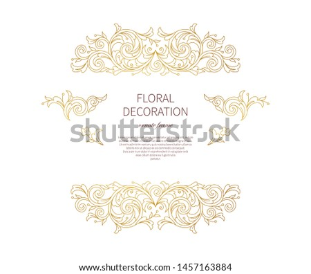 Floral gold decoration, frame, vignettes. Arabic and Eastern motifs. Ornamental illustration, flower garland. Isolated line art ornaments. Golden ornament with leaves, curls for invitations, cards.