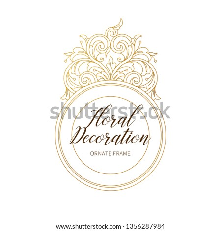 Floral gold decoration, round frame, ornamental border. Arabic and Eastern motifs. Ornate illustration, flower garland. Isolated line art ornaments. Golden ornament with leaves, curls for cards.