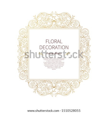 Floral gold decoration, square frame, vignettes. Arabic and Eastern motifs. Arab ornamental illustration. Isolated flower line art ornaments. Golden ornament with leaves, curls for invitations, card