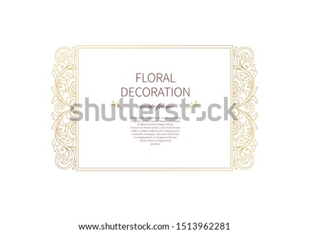 Floral gold frame, decoration, vignette. Arabic and Eastern motifs. Arab ornamental illustration, flower garland. Isolated line art ornaments. Golden ornament with leaves, curls for invitations, cards