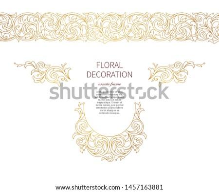 Floral gold ornaments, decoration, frame, vignettes, seamless border. Arabic and Eastern motifs. Ornate ornamental illustration, flower garland, wreath. Line art ornament. Golden leaves, curls.