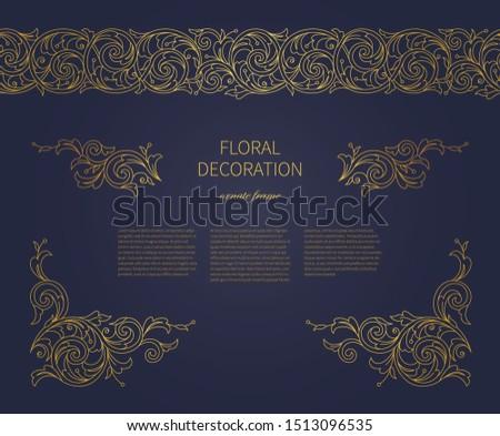 Floral gold ornaments, decoration, frame, vignettes, seamless border. Arabic and Eastern motifs. Ornate ornamental illustration, flower garland, wreath. Line art ornament. Golden curls for cards.